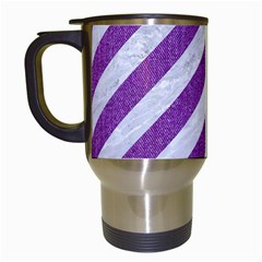 Stripes3 White Marble & Purple Denim (r) Travel Mugs (white) by trendistuff