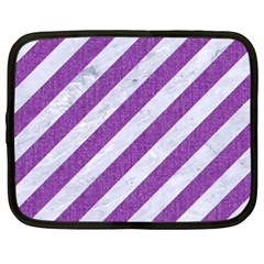 Stripes3 White Marble & Purple Denim (r) Netbook Case (xxl)  by trendistuff