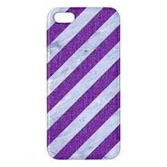 Stripes3 White Marble & Purple Denim (r) Iphone 5s/ Se Premium Hardshell Case by trendistuff