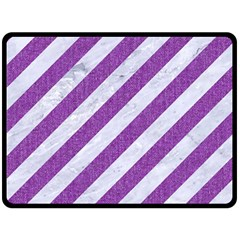 Stripes3 White Marble & Purple Denim (r) Double Sided Fleece Blanket (large)  by trendistuff