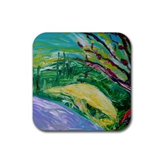Yellow Boat And Coral Tree Rubber Square Coaster (4 Pack)