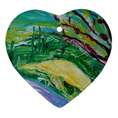 Yellow Boat And Coral Tree Heart Ornament (two Sides)
