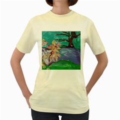Magnolia By The River Bank Women s Yellow T Shirt by bestdesignintheworld
