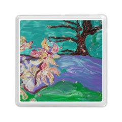 Magnolia By The River Bank Memory Card Reader (square)  by bestdesignintheworld