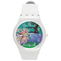 Magnolia By The River Bank Round Plastic Sport Watch (m)