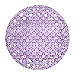 Scales2 White Marble & Purple Glitter (r) Round Filigree Ornament (two Sides)