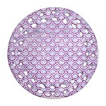 SCALES2 WHITE MARBLE & PURPLE GLITTER (R) Round Filigree Ornament (Two Sides) Back