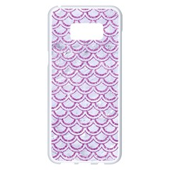 Scales2 White Marble & Purple Glitter (r) Samsung Galaxy S8 Plus White Seamless Case by trendistuff
