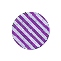 Stripes3 White Marble & Purple Denim Rubber Coaster (round)  by trendistuff