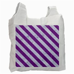 Stripes3 White Marble & Purple Denim Recycle Bag (two Side)  by trendistuff