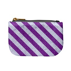 Stripes3 White Marble & Purple Denim Mini Coin Purses by trendistuff