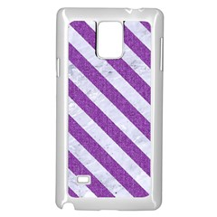 Stripes3 White Marble & Purple Denim Samsung Galaxy Note 4 Case (white) by trendistuff