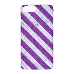 Stripes3 White Marble & Purple Denim Apple Iphone 8 Plus Hardshell Case by trendistuff