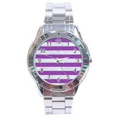 Stripes2white Marble & Purple Denim Stainless Steel Analogue Watch by trendistuff