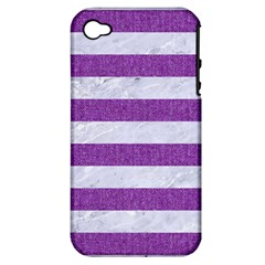 Stripes2white Marble & Purple Denim Apple Iphone 4/4s Hardshell Case (pc+silicone) by trendistuff