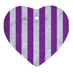 Stripes1 White Marble & Purple Denim Heart Ornament (two Sides)
