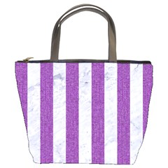Stripes1 White Marble & Purple Denim Bucket Bags by trendistuff