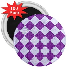 Square2 White Marble & Purple Denim 3  Magnets (100 Pack) by trendistuff