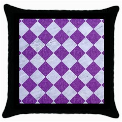 Square2 White Marble & Purple Denim Throw Pillow Case (black) by trendistuff