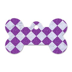 Square2 White Marble & Purple Denim Dog Tag Bone (two Sides) by trendistuff