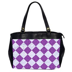 Square2 White Marble & Purple Denim Office Handbags (2 Sides)  by trendistuff