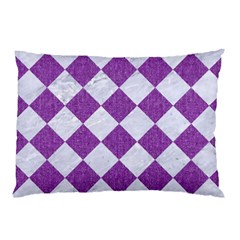 Square2 White Marble & Purple Denim Pillow Case (two Sides) by trendistuff