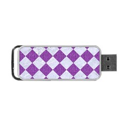 Square2 White Marble & Purple Denim Portable Usb Flash (one Side) by trendistuff