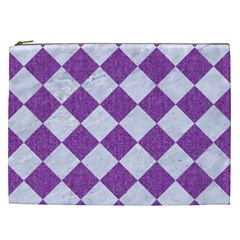 Square2 White Marble & Purple Denim Cosmetic Bag (xxl)  by trendistuff