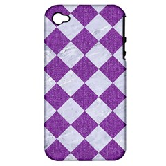 Square2 White Marble & Purple Denim Apple Iphone 4/4s Hardshell Case (pc+silicone) by trendistuff