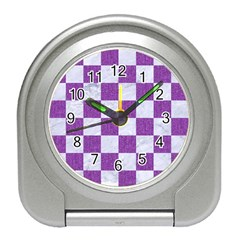 Square1 White Marble & Purple Denim Travel Alarm Clocks by trendistuff