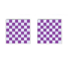 Square1 White Marble & Purple Denim Cufflinks (square) by trendistuff