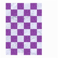 Square1 White Marble & Purple Denim Small Garden Flag (two Sides) by trendistuff
