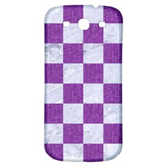 Square1 White Marble & Purple Denim Samsung Galaxy S3 S Iii Classic Hardshell Back Case by trendistuff