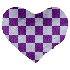 Square1 White Marble & Purple Denim Large 19  Premium Heart Shape Cushions by trendistuff