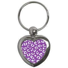 Skin5 White Marble & Purple Denim (r) Key Chains (heart)  by trendistuff