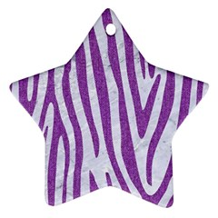 Skin4 White Marble & Purple Denim Star Ornament (two Sides) by trendistuff