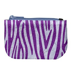 Skin4 White Marble & Purple Denim Large Coin Purse by trendistuff