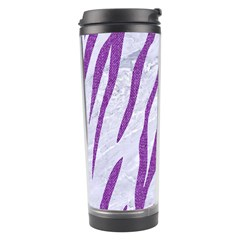 Skin3 White Marble & Purple Denim (r) Travel Tumbler by trendistuff