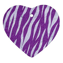 Skin3 White Marble & Purple Denim Heart Ornament (two Sides) by trendistuff
