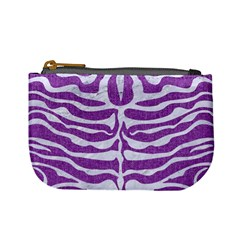 Skin2 White Marble & Purple Denim Mini Coin Purses by trendistuff