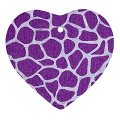Skin1 White Marble & Purple Denim (r) Heart Ornament (two Sides) by trendistuff