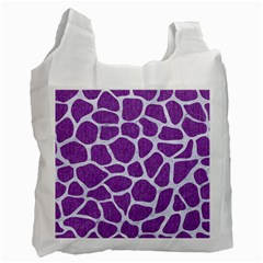 Skin1 White Marble & Purple Denim (r) Recycle Bag (two Side)  by trendistuff