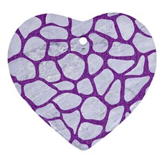 Skin1 White Marble & Purple Denim Heart Ornament (two Sides) by trendistuff