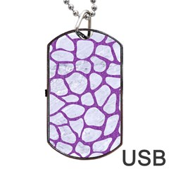 Skin1 White Marble & Purple Denim Dog Tag Usb Flash (two Sides) by trendistuff