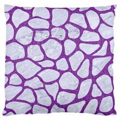 Skin1 White Marble & Purple Denim Large Cushion Case (two Sides) by trendistuff