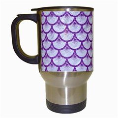 Scales3 White Marble & Purple Denim (r) Travel Mugs (white) by trendistuff