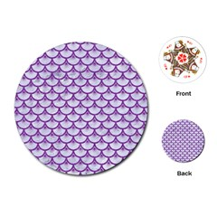 Scales3 White Marble & Purple Denim (r) Playing Cards (round)  by trendistuff
