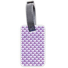Scales3 White Marble & Purple Denim (r) Luggage Tags (one Side)  by trendistuff
