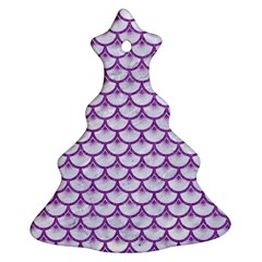 Scales3 White Marble & Purple Denim (r) Ornament (christmas Tree)  by trendistuff