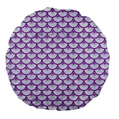 Scales3 White Marble & Purple Denim (r) Large 18  Premium Flano Round Cushions by trendistuff